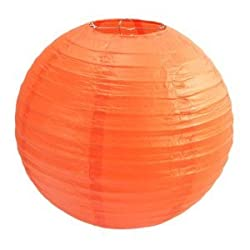 PrettyurParty Orange Round Paper Lamps 16