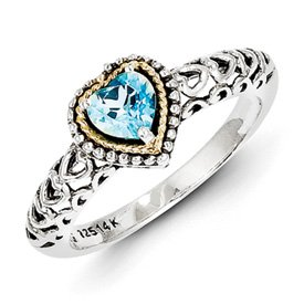 Genuine IceCarats Designer Jewelry Gift Sterling Silver W/14K Blue Topaz Ring Size 7.00