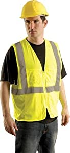 """OccuNomix 2X - 3X Yellow OccuLux Lightweight Mesh Class 2 Economy Surveyor's Vest With Zipper Front Closure, 2"""" Silver Reflective Tape Striping And 12 Pockets"""
