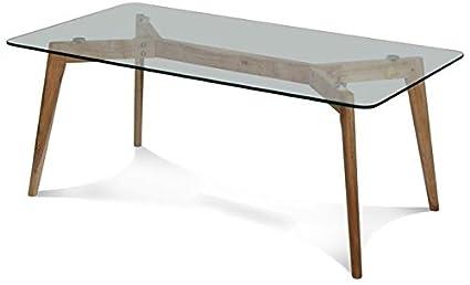 Mesa d centro madera, cristal, 120x60 cm