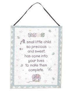 """Precious Child"" New Baby Wall Hanging Tapestry 12"" X 18"" front-930312"