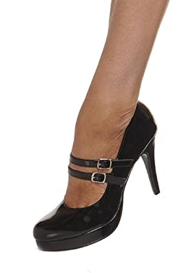 "Ellie Shoes E-421-Jane, 4"" Double Strap Mary Jane. 5 Black"
