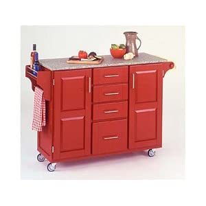 Large Red Cart with Granite Top