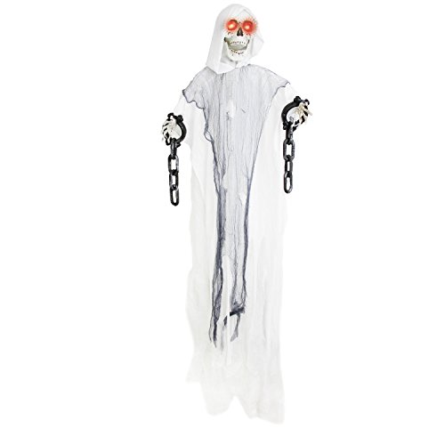 Halloween Haunters 5' Animated Hanging White Skull Reaper Prop Decoration - Head Turns, Arms Move, Evil Eyes Light Up, 3 Phrases - Battery Operated