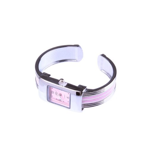 Bestdealusa Pink Small Square Stainless Steel Bracelet Wrist Watch For Ladies