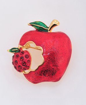 Ripped Red Apple Pin Brooch