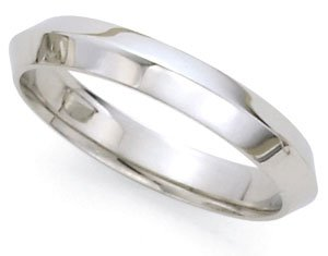 Comfort-Fit Knife Edge Wedding Band In 18K White Gold (4Mm)