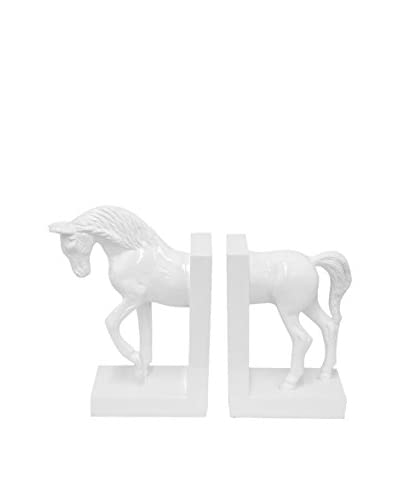 Three Hands Horse Bookends, White
