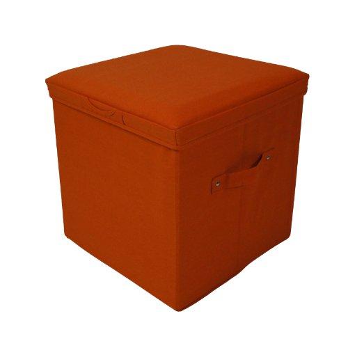 Seat Pad Folding Storage Ottoman. Canvas cover - Orange
