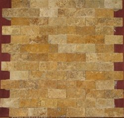 4x4 sample of Split Face 1x2 Gold Yellow Travertine