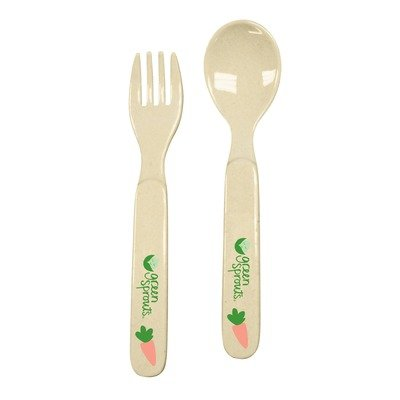 green sprouts Plant Fiber Fork, Spoon Set, Farm, 3 Months and Above
