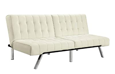 Tufted Bonded Leather Sleeper Sofa with Split Back - Apartment Size, Color White