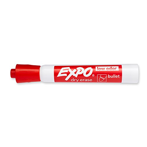 Expo 2 Low-Odor Dry Erase Markers, Bullet Tip, 12-Pack, Red