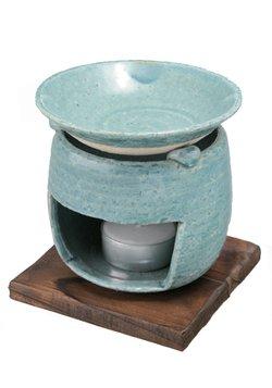 茶香炉(ブルー)/手作り アロマテラピー用アロマポットにも 贈り物ギフト プレゼント プチギフト 消臭と癒し効果 オススメ茶葉はほうじ茶