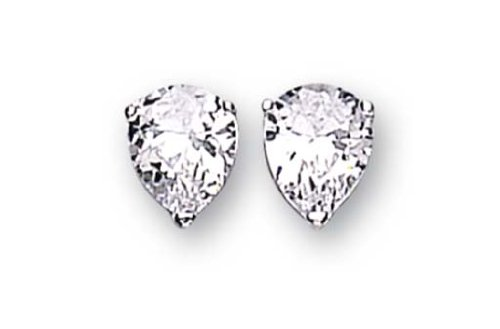 Sterling Silver Cubic Zirconia Stud Earrings Pear Shape