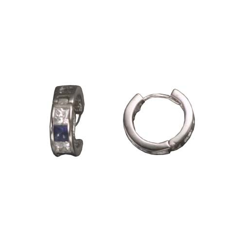 Charina's 925 Sterling Silver Hughie Earrings Simulated Invisible Set Princess Cut Sapphire & Clear CZ - Incl. ClassicDiamondHouse Free Gift Box & Cleaning Cloth