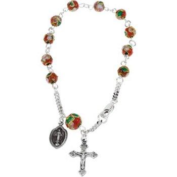 Sterling Silver Red Cloisonne Rosary Bracelet