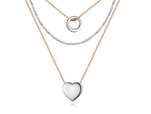"""elufly 3strati Multi catena """"Love nel cuore zirconi shine grazioso anello ciondolo a cuore a strati collana, placcato argento, colore: Multicolour, cod. EF0013(A)"""