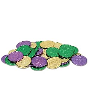 Mardi Gras Plastic Coins (asstd gold, green, purple) Party Accessory  (1 count) (100/Pkg)