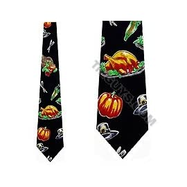 Thanksgiving Tie Turkey Dinner Neckties Mens Ties