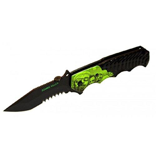 "New 8"" S/A Zombie Killer Black Stainless Steel Blade Pocket Knife Metal Handle W/ Belt Clip"
