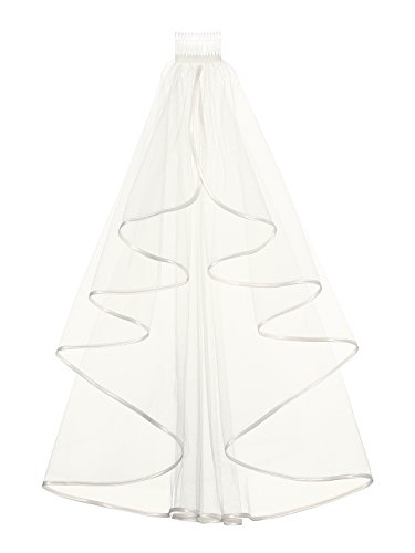 Elegant 1T 1 Tier Ribbon Cascade Waterfall Veil - Ivory Elbow Length 28