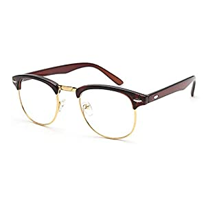 Outray Vintage Retro Classic Half Frame Horn Rimmed Clear Lens Glasses 2135c3 Brown