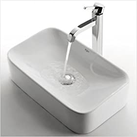"Ceramic 5"" x 11.5"" Rectangular Sink in White with Ramus Single Lever Faucet Finish: Chrome"