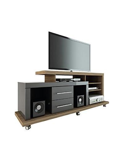 Manhattan Comfort Empire 6-Shelf/2-Drawer Empire TV Stand, Onyx