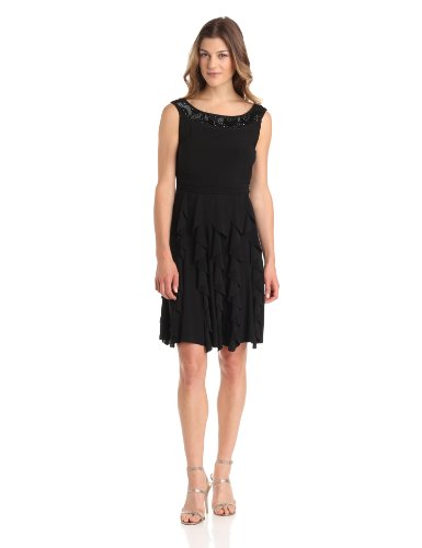 Tiana B Womens Sleeveless Dress with Neckline Yoke