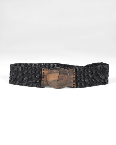 Stretchy Beaded Belt with Hand-Carved Wood Buckle
