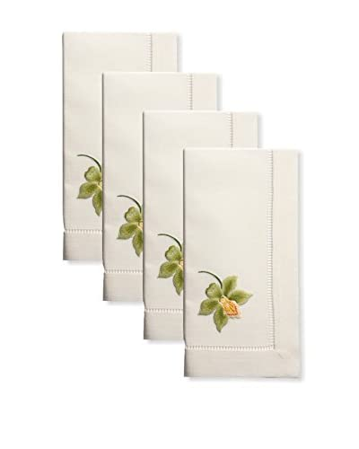 Henry Handwork Set of 4 Catherine Orchid Embroidered Napkins, Ivory