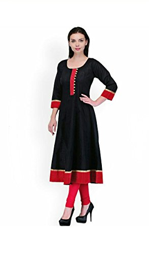 AnjuShree-Choice-Womens-Black-Cotton-Anarkali-Stitched-Kurti