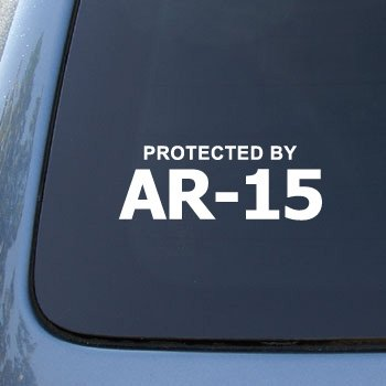 Protected By AR-15 – Car, Truck, Notebook, Vinyl Decal Sticker #2604 | Vinyl Color: White