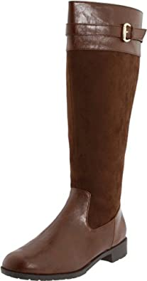 Fitzwell Women's Denver - Wide Calf Boot,Coach Antique/Brown Velvet Suede,8 WW US