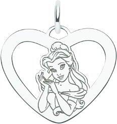 Sterling Silver Disney Princess Belle Heart Charm
