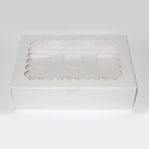 Plateado White Box capacidad 6 Cupcake (4 cajas)