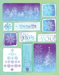 Penny Black Christmas Sticker Sheet 7'X9' Christmas Sparkle; 4 Items/Order