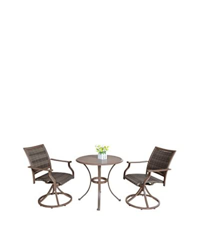 Panama Jack 3-Piece Island Cove Woven Slatted Dining Bistro Group, Espresso
