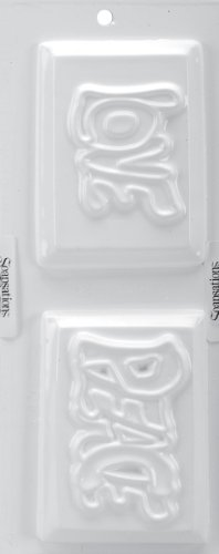 "Soapsations Soap Mold 4""X9""-Peace Bar and Love Bar"