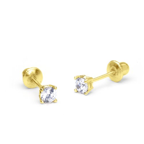 14k-Yellow-Gold-3mm-Basket-Setting-Round-Solitaire-Children-Screw-Back-Girls-Earrings