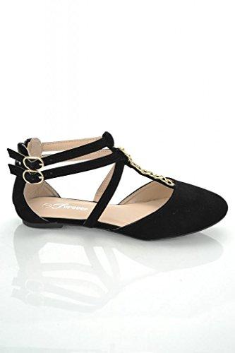 Womens Hot Fashion Round Toe Strappy Flat Sandals Black 7.5