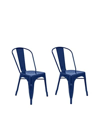 Aeon Euro Home Collection Set of 2 Garvin-1 Chairs, Navy