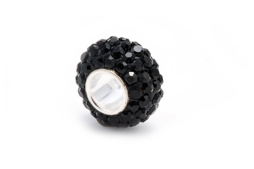 .925 Solid Sterling Silver Bead Covered with Top Quality Black Diamond Color Crystal Super Sale Only for a Limited Time, Comes with a Free Gift Box and Special Pouch