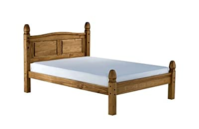 Happy Beds Corona Low Foot End Classic Styled Wooden Bed Antique Pine Bedroom