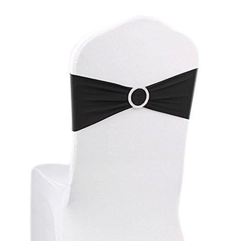 ASPIRE Wedding Chair Cover Bands with Ring Buckle, Fits Most Chairs (10 Pack) - Black