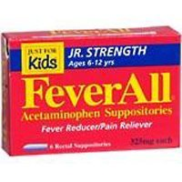 FeverAll Acetaminophen Suppositories, Jr Strength Ages 6-12 Years 6 ea
