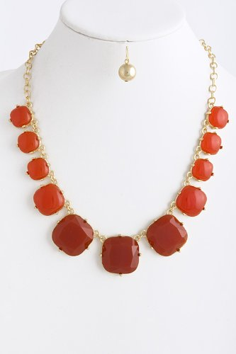 Trendy Fashion Jewelry Acrylic Cube Necklace By Fashion Destination | (Orange)