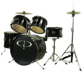 gp-percussion-gp55bk-5-piece-junior-drum-set-with-cymbals-and-throne-in-metallic-black