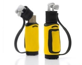 4GB Golf Bag And Clubs Memory Stick USB 2.0 Flash Pen Drive Yellow from Plenty Enterprises